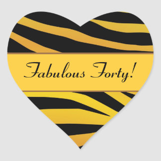 Fabulous Forty Gold and Black Tiger Birthday Heart Sticker