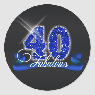 Fabulous Forty Sparkle ID191 Classic Round Sticker
