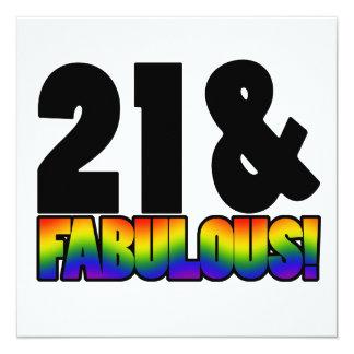 Fabulous Gay 21st Birthday 13 Cm X 13 Cm Square Invitation Card