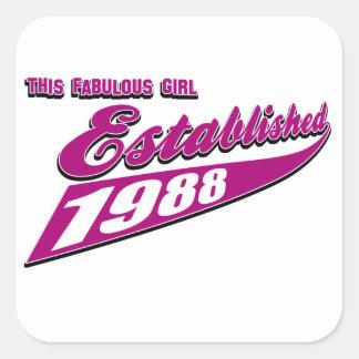 Fabulous Girl established 1988 Square Stickers