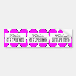 Fabulous Girlfriend Pink Polka Dots on White Bumper Stickers