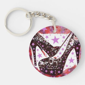 Fabulous Glamourous Pink Purple High Heels Stars Double-Sided Round Acrylic Key Ring