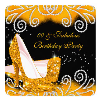 Fabulous Glitter Yellow High Heels Birthday Party 13 Cm X 13 Cm Square Invitation Card