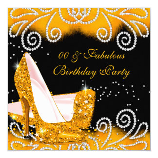 """Fabulous Glitter Yellow High Heels Birthday Party 5.25"""" Square Invitation Card"""