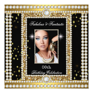 Fabulous Gold Black Glamour Photo Diamond Party Card