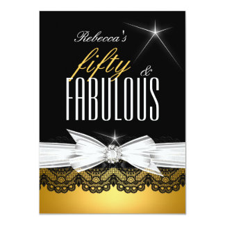 Fabulous Gold Black Lace 50th Birthday Party 2 4.5x6.25 Paper Invitation Card