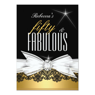 """Fabulous Gold Black Lace 50th Birthday Party 4.5"""" X 6.25"""" Invitation Card"""