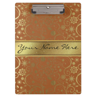Fabulous Gold Glitter & Gradient Floral Pattern Clipboards