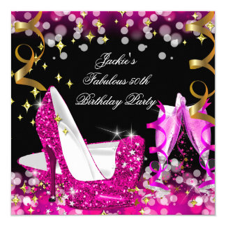 Fabulous Hot Pink Glitter High Heel 50th Birthday 13 Cm X 13 Cm Square Invitation Card