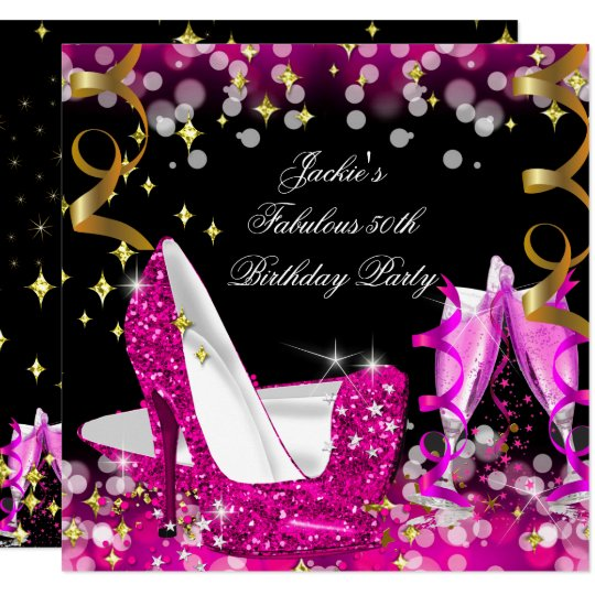 50th And Fab: Fabulous Hot Pink Glitter High Heel 50th Birthday