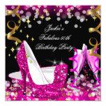 Fabulous Hot Pink Glitter High Heel 50th Birthday 13 Cm X 13 Cm Square Invitation Card