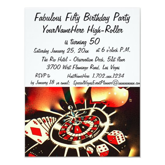 Fabulous Las Vegas 50 Birthday Celebration Card