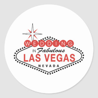 Fabulous Las Vegas Wedding Template Customizable Round Sticker