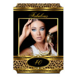 Fabulous Leopard Birthday Party Black Gold Photo 13 Cm X 18 Cm Invitation Card