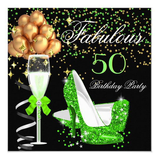 Fabulous Lime Heels Gold Black Birthday Party Card