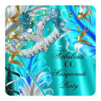 Fabulous Masquerade Party Birthday Teal Blue 13 Cm X 13 Cm Square Invitation Card