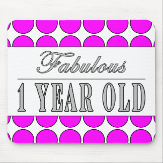 Fabulous One Year Old Pink Polka Dots on White Mouse Pad