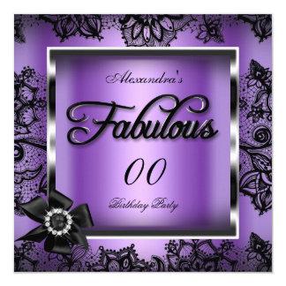 Fabulous Party Purple Damask Black Lace Pearl 13 Cm X 13 Cm Square Invitation Card