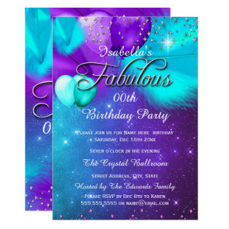 Fabulous Party Teal Blue Purple Silver Balloons Card