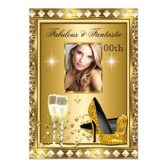 Fabulous Photo Gold Glitz Glam Hollywood Birthday Card