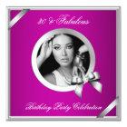 Fabulous Pink Diamond Silver Photo 30 Party Card