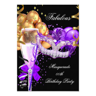 Fabulous Purple Gold Black Masquerade Party 4 Card