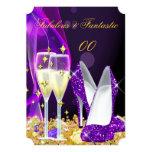 Fabulous Purple High Heels Champagne Party 2 13 Cm X 18 Cm Invitation Card
