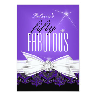 Fabulous Purple Lace Black 50th Birthday Party 2 4.5x6.25 Paper Invitation Card