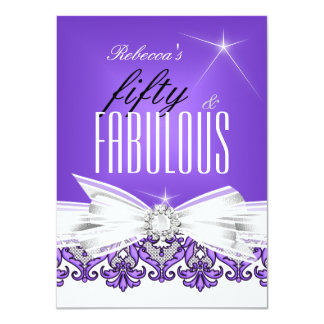 Fabulous Purple Lace White 50th Birthday Party 4.5x6.25 Paper Invitation Card