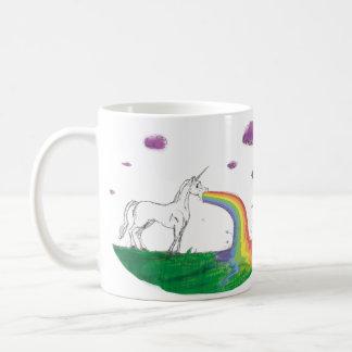 Fabulous rainbow puking unicorn cup basic white mug