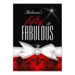 Fabulous Red Black Damask 50th Birthday Party 11 Cm X 16 Cm Invitation Card