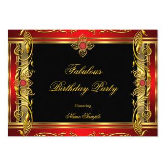 Fabulous Red Black Gold Birthday Party 13 Cm X 18 Cm Invitation Card