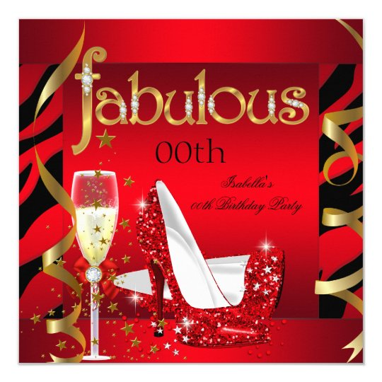 Fabulous Red Champagne Party Black Zebra Card