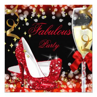 Fabulous Red Glitter High Heel Birthday Card