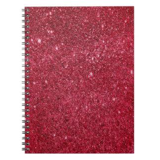 Fabulous red glitter texture notebook