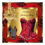 Fabulous Red Heels Chandelier Corset Rose Lace 13 Cm X 13 Cm Square Invitation Card