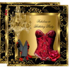 Fabulous Red Heels Chandelier Corset Rose Lace 2 Card