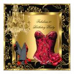 Fabulous Red Heels Chandelier Corset Rose Lace 2 13 Cm X 13 Cm Square Invitation Card