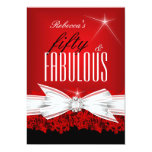 Fabulous Red Lace Black 50th Birthday Party 2 Personalised Invitations
