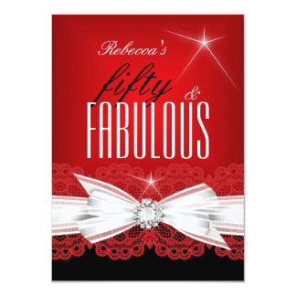 Fabulous Red Lace Black 50th Birthday Party 2 4.5x6.25 Paper Invitation Card