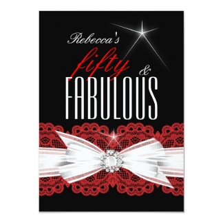 Fabulous Red Lace Black 50th Birthday Party 3 4.5x6.25 Paper Invitation Card