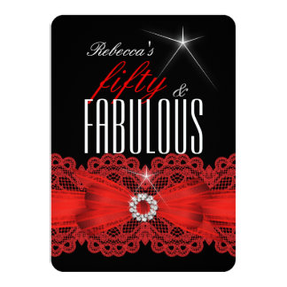 Fabulous Red Lace Black 50th Birthday Party 4 4.5x6.25 Paper Invitation Card