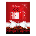 Fabulous Red Lace Black 50th Birthday Party Personalised Announcements
