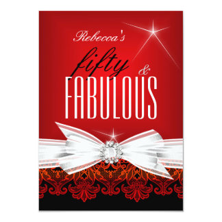 Fabulous Red Lace Black 50th Birthday Party 4.5x6.25 Paper Invitation Card