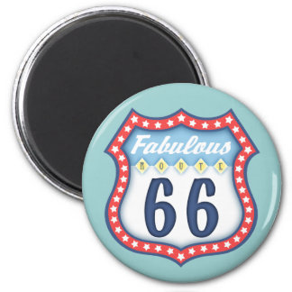 Fabulous Route 66 6 Cm Round Magnet