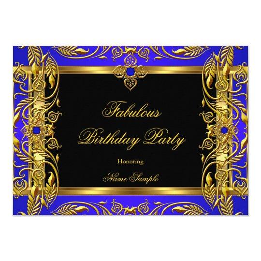 Fabulous Royal Blue Black Gold Birthday Party Card