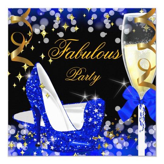 Fabulous Royal Blue Glitter High Heel Birthday Card