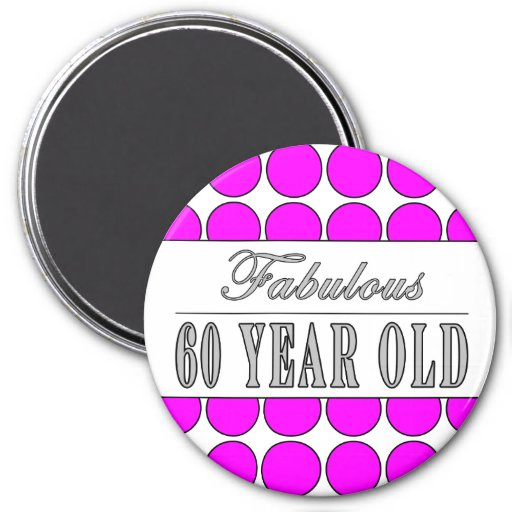 Fabulous Sixty Year Old Pink Polka Dots Magnets