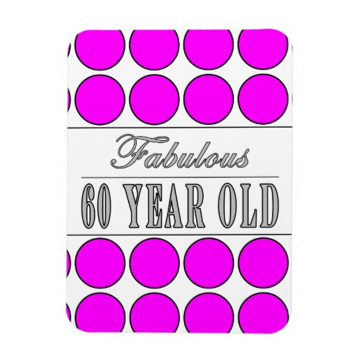 Fabulous Sixty Year Old Pink Polka Dots Rectangle Magnet