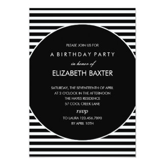 Fabulous Stripes General Party Invitation (Black)